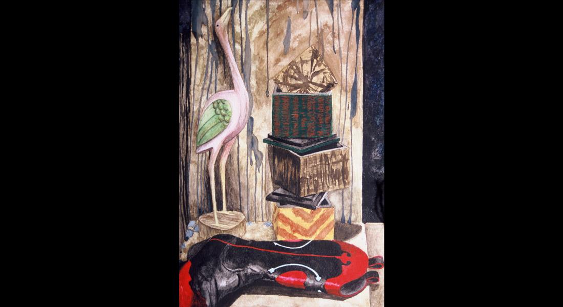 Boot Bird Still Life Watercolor